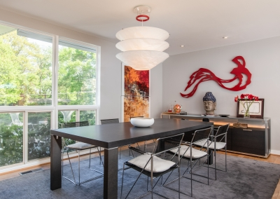 Photography of dining room in mid-century modern home
